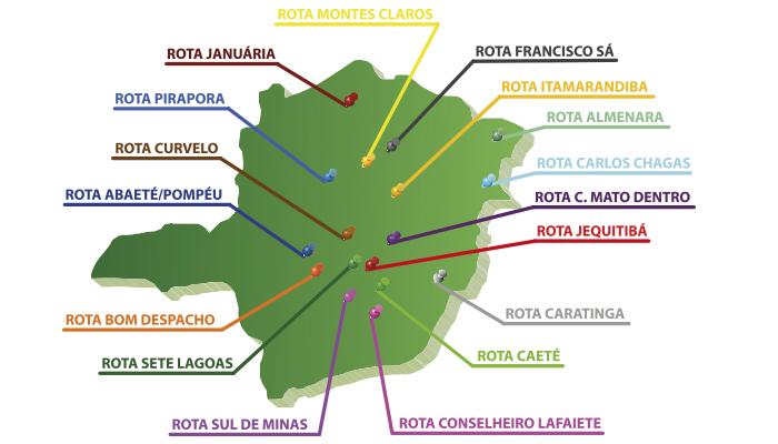 Mapa com as rotas de atendimento da Gepec