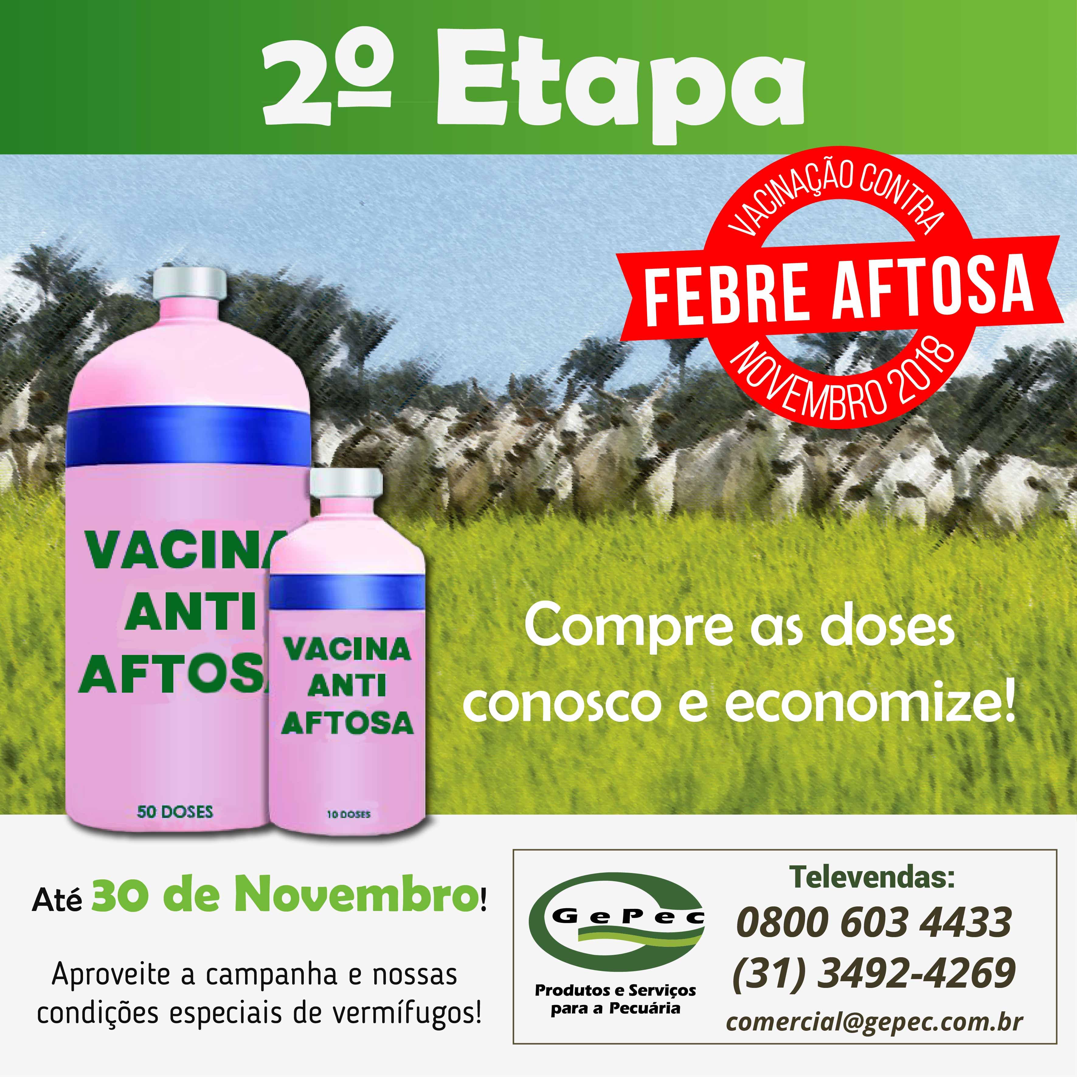 A 2ª fase da campanha contra a febre aftosa já começou e terminará dia 30 de novembro em Minas Gerais.