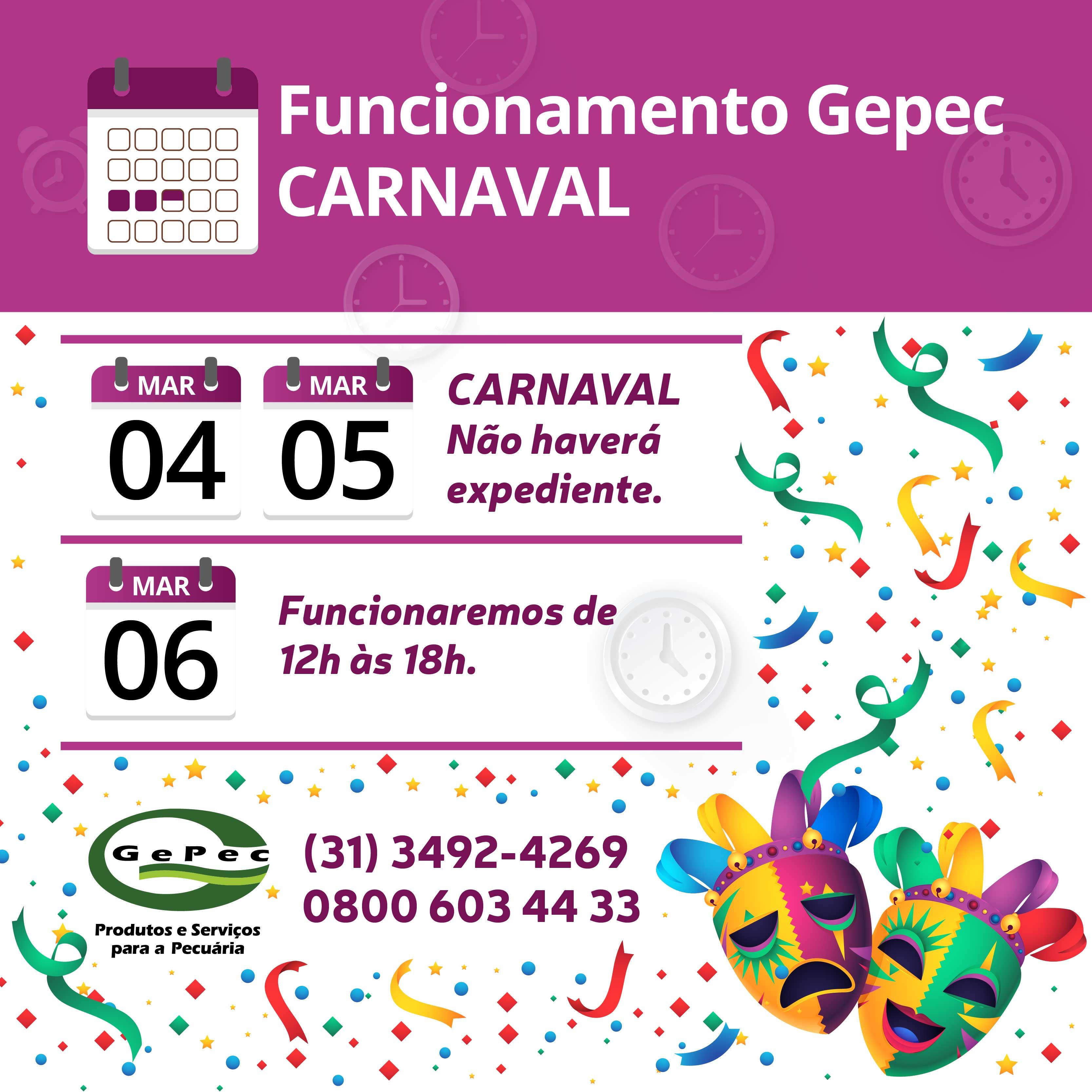 Recesso de Carnaval - Confira nossa programação